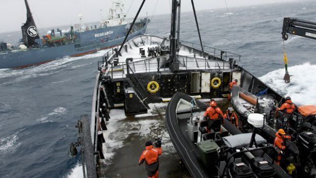 Japanese whaling vessel Yushin Maru No. 2 crosses the bow of Sea Shepherd's Steve Irwin in the Southern Ocean on Saturday.