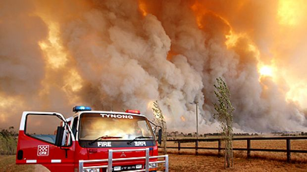 The Country Fire Authority monitors a giant fire raging in the Bunyip State Forest.