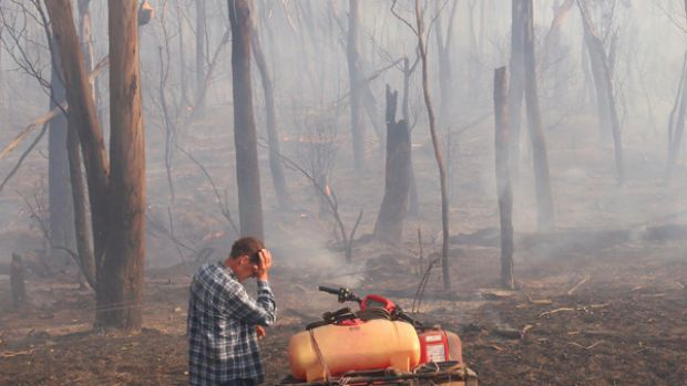 A farmer sees the effect of fire on his land at Labertouche.