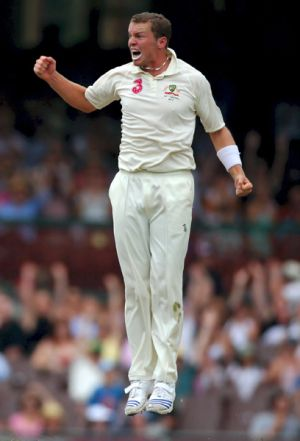 Australia's Peter Siddle celebrates the wicket of Dale Steyn at the S.C.G during the third Test.