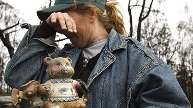 Bev Rice, a collector of teapots and victim of the bushfires which swept through Victoria, saved a teddy bear teapot and ...