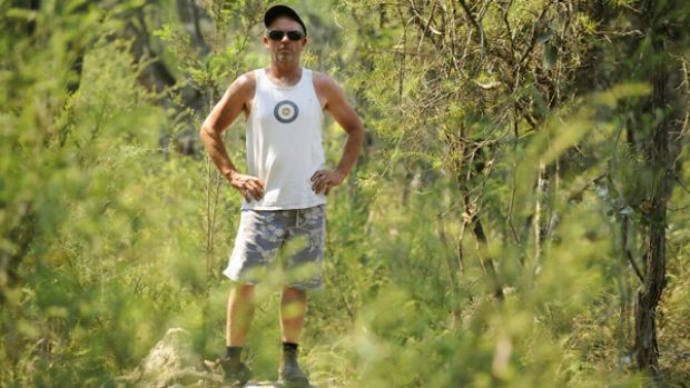Local winemaker Andrew Clarke is pictured on the closed Black Boy Fire Track at Tonimbuk.