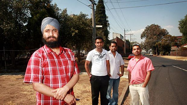 Dayajot Singh, foreground, stands on the corner of Barkly and Ferguson streets, with L to R, Inderjot Singh, Harwinder ...