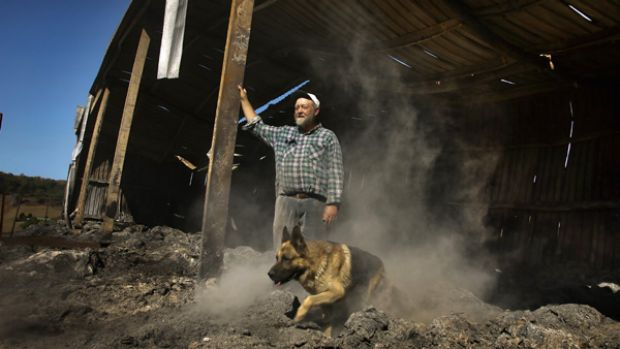 """You can't help feeling abandoned"": Farmer Henry Thimm and his dog Hudson at one of the sheds the bushfires destroyed."