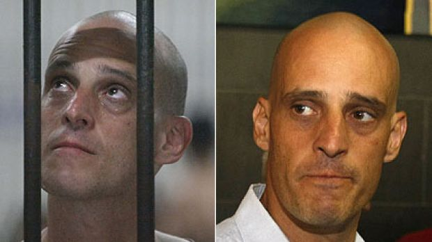 Bar none ... Harry Nicolaides in a Thai jail, left, and arriving in Australia on Saturday.