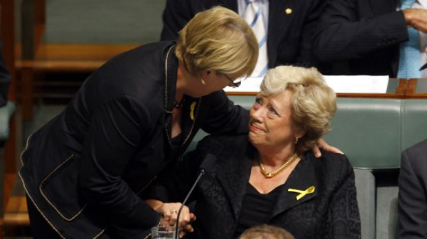 Jenny Macklin consoles a distraught Fran Bailey.