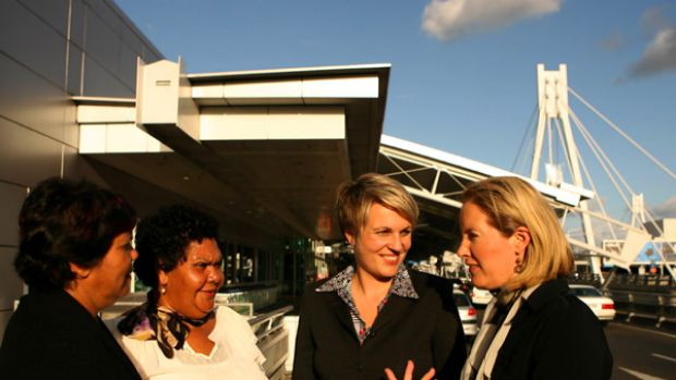 Tanya Plibersek MP meets with (from left to right) Chairperson Emily Carter and CEO June Oscar of Marninwarntikura ...