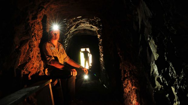 """Inside the Woods Point mine. """"It could be a thousand degrees outside and you're safe in here,"""" says CFA officer  Tony Rugys."""