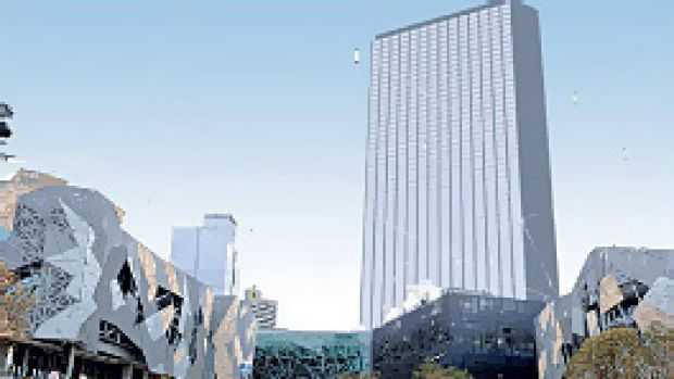 Hard to miss: A proposed 70-storey building would loom over Fed Square.