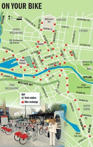 Map of possible bike stations.