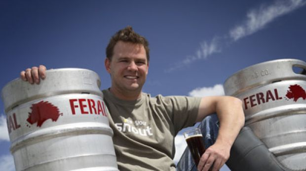 Feral Brewing head brewer Brendan Varis kicks back with a cold ale after his brew was crowned the country's best.