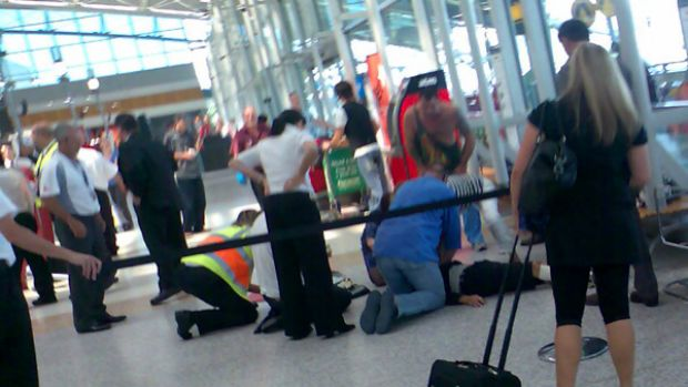 Scene of the attack on a passenger at Sydney's Qantas Domestic Terminal.