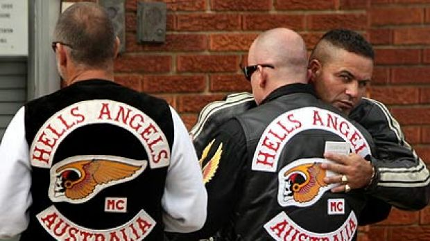 Brothers in arms . . . Hells Angels and associates gather for the funeral of Anthony Zervas at Roselands yesterday.