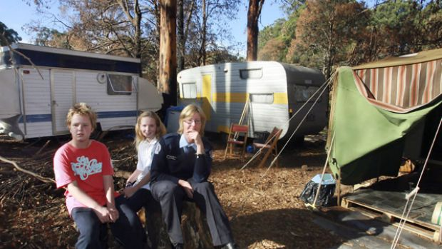 Kinglake's Tricia Hill with two of her children, Linden, 13, and Sancha, 12.