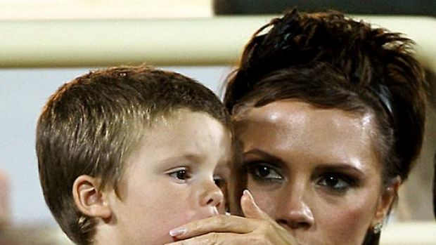 Hoping for a girl ... Victoria Beckham with her son Cruz.