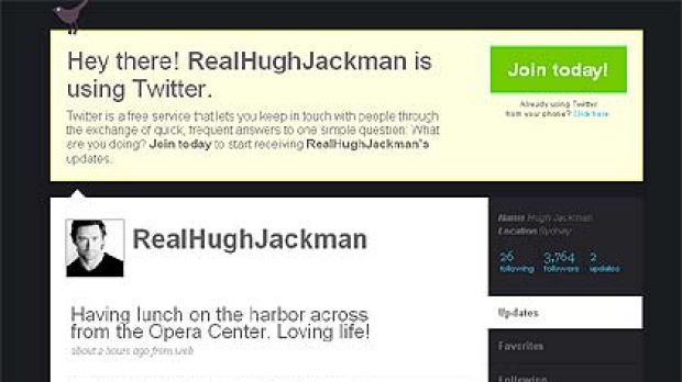 "Yanking our chain ... Hugh Jackman's Twitter post with its reference to the ""harbor"" and ""Opera Center""."