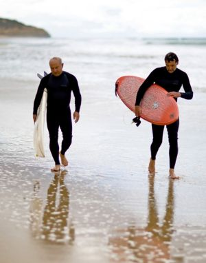 Yvon Chouinard, left, founder of  Patagonia, and Wayne Lynch, after a surf on Victoria's west coast.