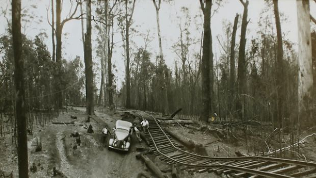 Norm Golding's trusty DeSoto with which he rescued nearly 100 people near Noojee during the devestating 1939  Black ...