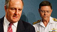 Bob Debus Home Affairs minister and Commander Border Protection Admiral Alan Du Toit conduct a media conference on an ...