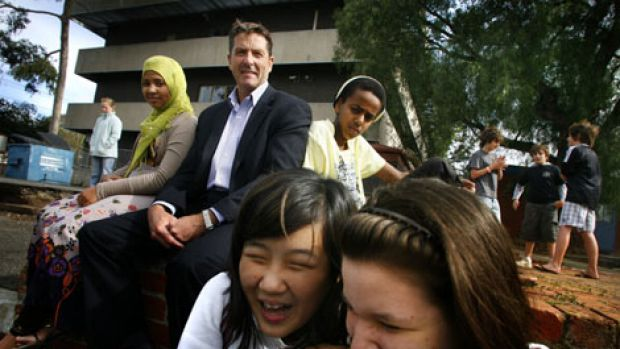 Debney Park principal Michael O'Brien with (from left) Clare Simons, 12, Amisa Ali, 13, Esther Jo, 12, Walid Hajj, 14, ...