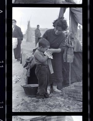 A woman and child in a Spanish Civil War refugee camp in France.