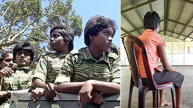 No place for a child ... (left) Young fighters of the Liberation Tigers of Tamil Eelam in Sri Lanka, and (right) a ...