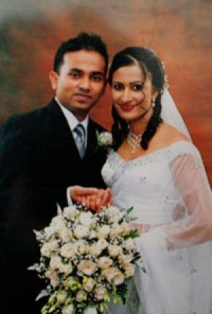 Acid burns...Chathurika Weerasinghe and his wife Chammi.