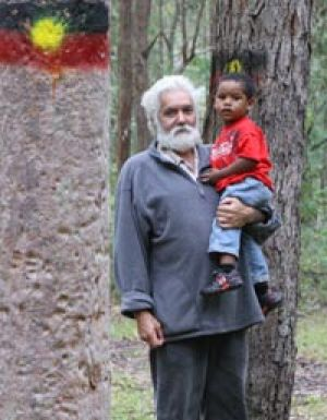 ``This is my people's Dreaming'' ...Uncle Worimi, with his grandson Garuahgal, 2, in the park where he was attacked.