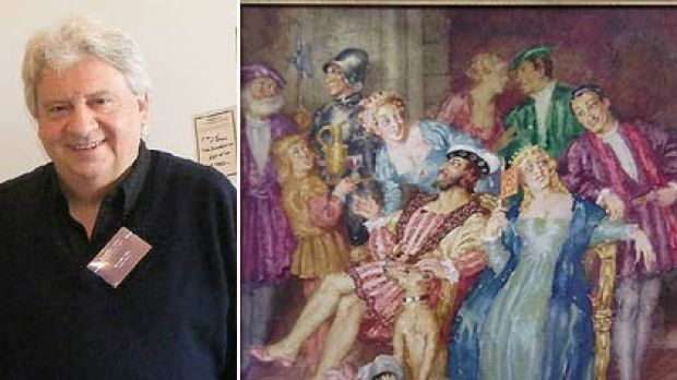 Ron Coles, left, and the Norman Lindsay artwork that sparked his downfall.