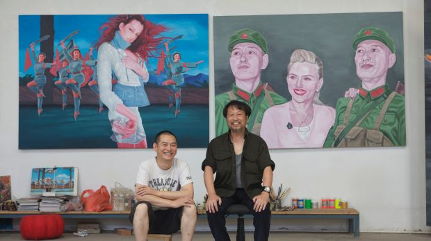 Blood brothers ...  Jiawei Shen, right, poses with Guo Jian, in Beijing. Their lives  and the Australian arts scene  ...