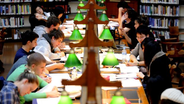 As exams approach, students cram at the State Library in Melbourne, but attendance at libraries is increasing in general.