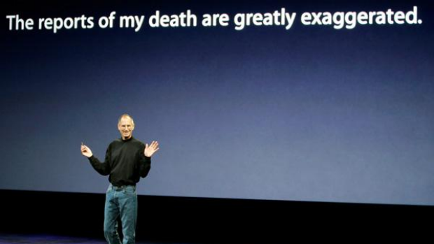 Apple CEO Steve Jobs speaks at an Apple event in September last year.
