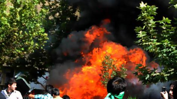 One of the photos of protests in Isfahan published on Twitter.
