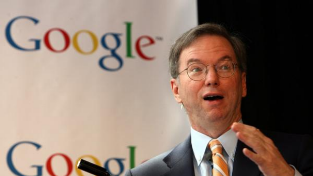 Google CEO Eric Schmidt speaking at a press conference in Sydney today.