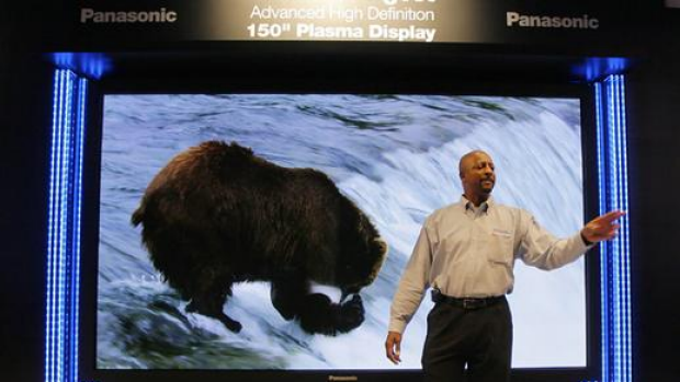 Geoff Holman introduces Panasonic's 381 cm plasma television at the Panasonic booth at the Consumer Electronics Show ...