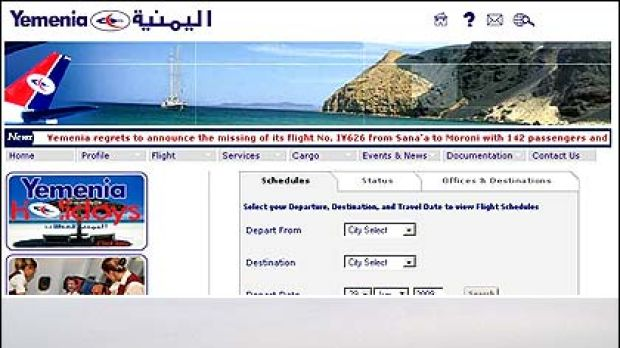 (Top) The Yemenia Air website announces the crash on its ticker and (bottom) a Yemenia Air Airbus 310. The A310 is ...