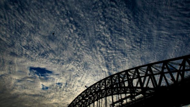 Light at the end of the tunnel ...  the construction work spoils the clean lines of the Harbour Bridge as seen from the ...