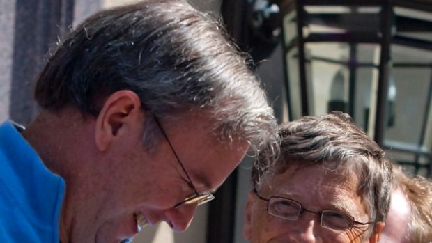 I'm a PC and I'm a Chrome .... Google Chairman and CEO Eric Schmidt, left, jokes with Microsoft Chairman Bill Gates at ...