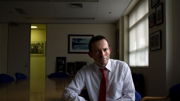 A new chapter ... Tony Abbott, in his electorate office in Manly, admits writing the book was therapeutic after the ...