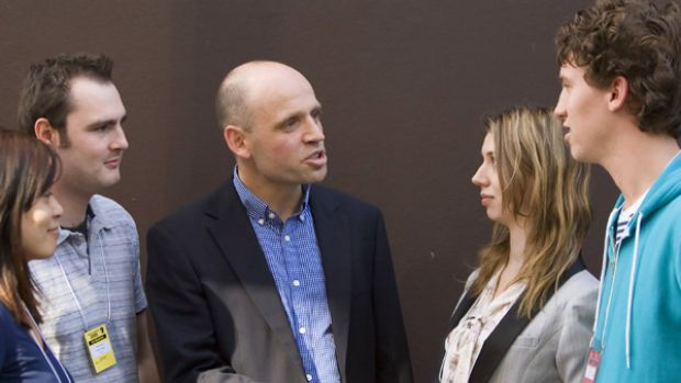 Tough talk ... Mark Arbib with Young Labor delegates yesterday.