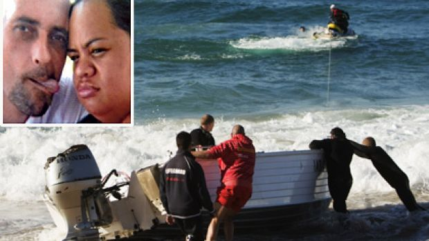 Washed up ... police and lifeguards recover the boat on Wanda Beach. Top left: Drowned ... Norman Baegar and Susan ...