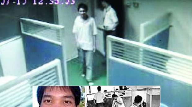 Sun Danyong, 25, inset, caught on CCTV footage in the factory.
