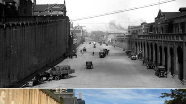 Then and now ... Hickson Road in the 1930s, above, and the same place this week. This section has been named The Hungry ...