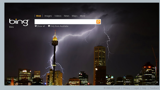 Sydney graphic designer Jeremy Somers' amazing photograph as it appears on the Bing home page.