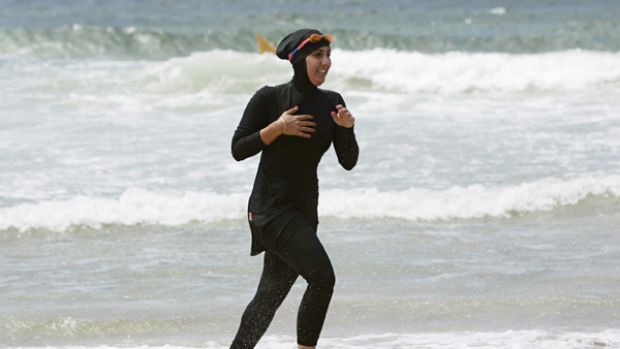 Burqini ... 20-year-old trainee volunteer surf life saver Mecca Laalaa at North Cronulla Beach in Sydney in 2007.
