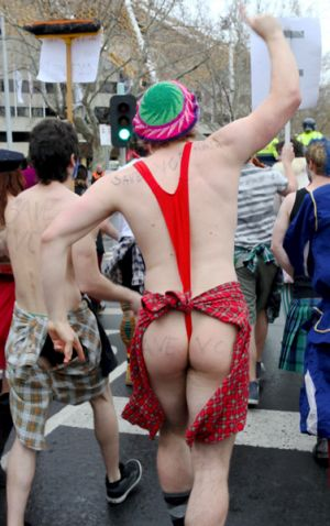 A student wears a mankini in the protest march.