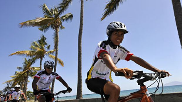 No easy ride... members of the national team, including Francelina Marques Cabal (right), train in Dili.