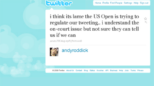 Andy Roddick sounds off on Twitter.
