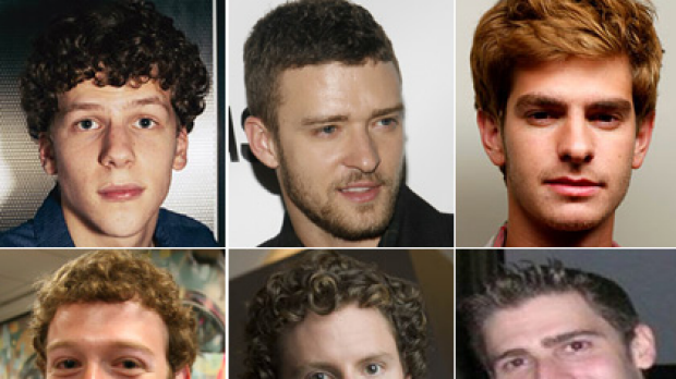 Facebook founders Mark Zuckerberg, Sean Parker and Eduardo Saverin, bottom, next to the actors playing them in the film.