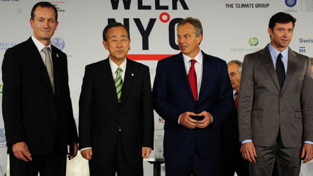 Actor Hugh Jackman, right, stands with UN Secretary General Ban Ki-Moon, second left, the Climate Group chief executive ...